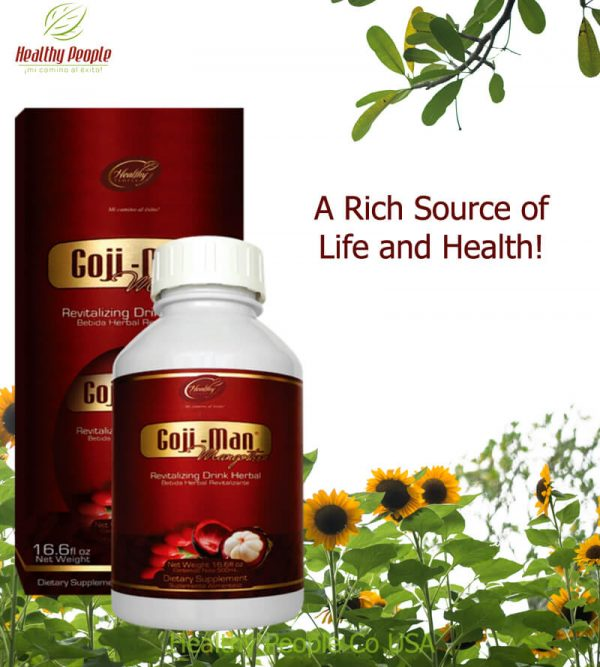 """GOJI-MAN 1/2 Liter - """"A Rich Source of Life and Health"""""""